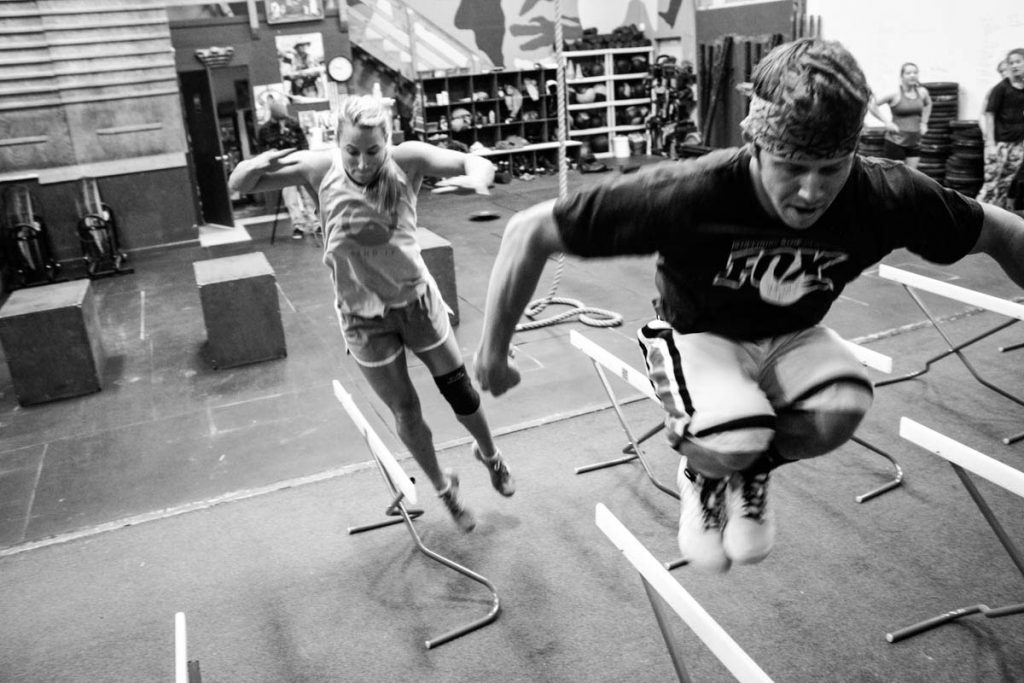 FreeSkiers train plyometrics during their summer dryland cycle.