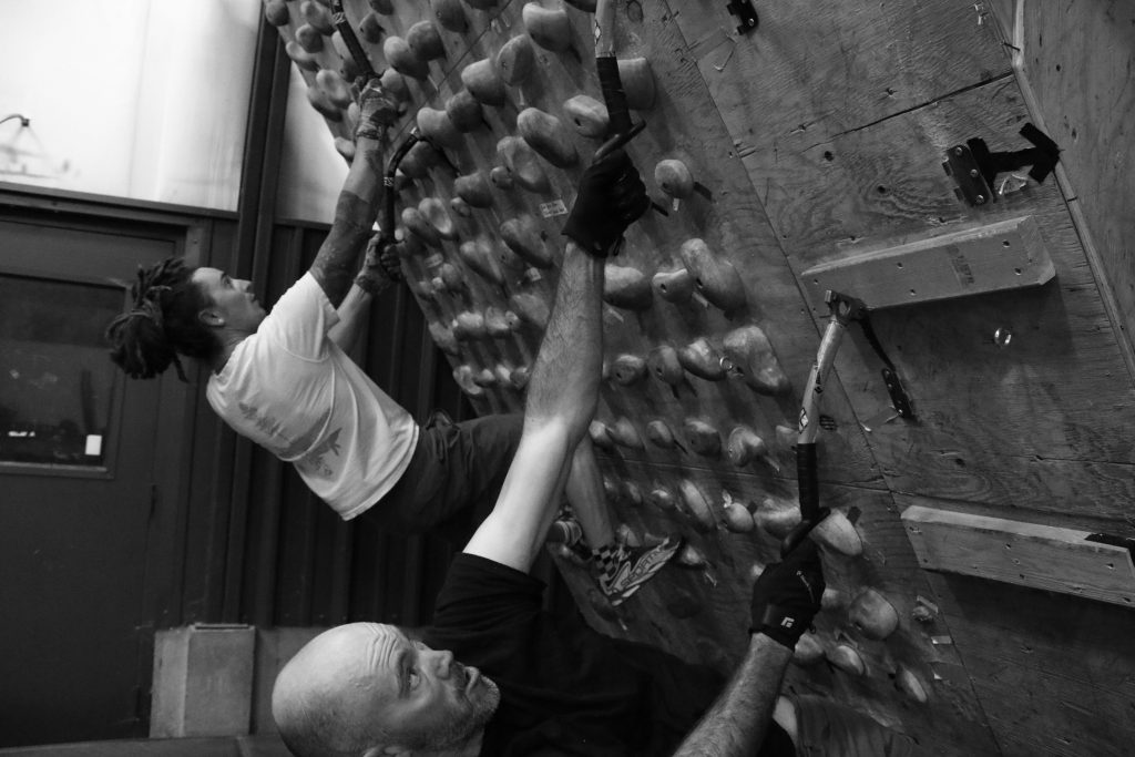 Exum Guide Garrick Hart and climber Ryan M. train sport-specific fitness during an ice climb pre-season training cycle.