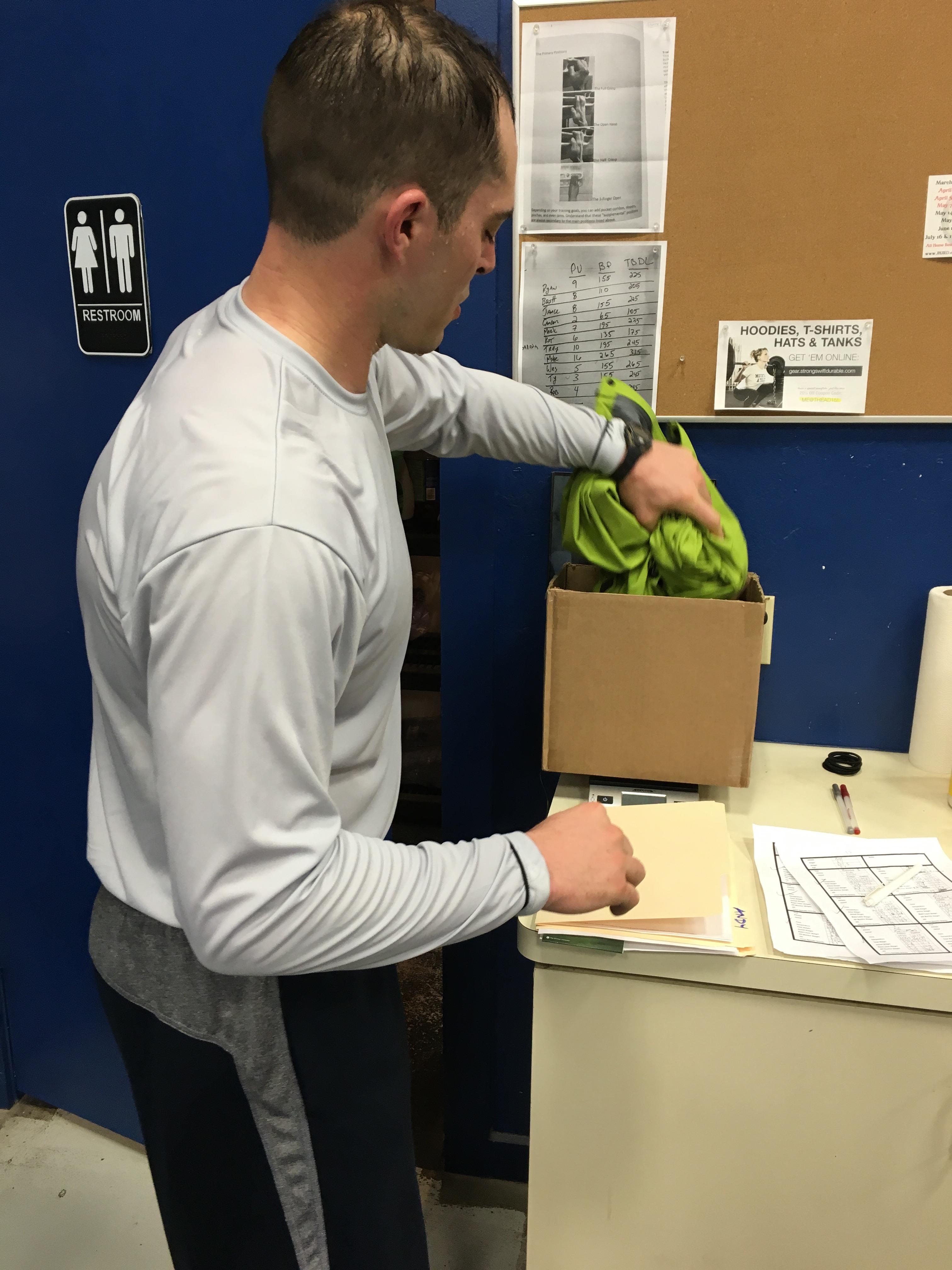 Athlete weighing Jac