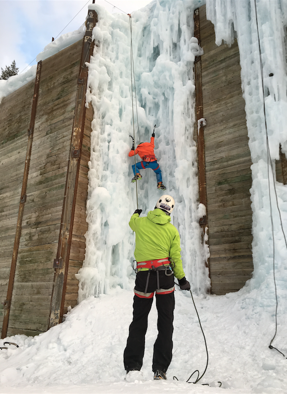 Lab Rats completing ice climbing trials at EXUM Ice Park